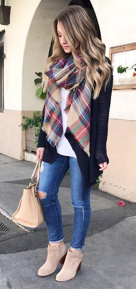 Printed Scarf, Black Cardigan